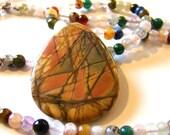 Beaded Gemstone Opera Necklace // Long Stone Layering Necklace // Boho Jewelry // Bohemian // Agate quartz amethyst sunstone - BJ0020