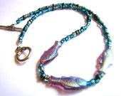 Glass Fish Beaded Necklace // Purple Fish Necklace // Blue and Purple BohoChic Jewelry // Bead Choker // Everyday Jewelry - BJ0037