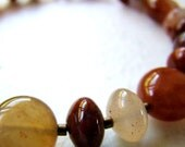 Agate gemstone bracelet in autumn colors - red, chocolate, honey, pink, bear brown