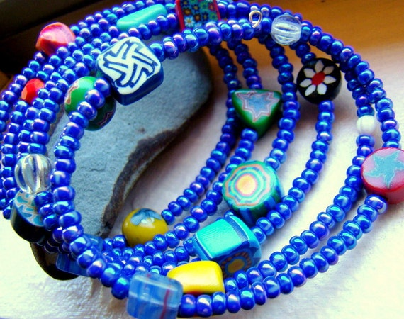 Blue Beaded Bracelet  Wrap Bracelet  Cobalt Blue Jewelry  Bright Bohemian Bracelet  Boho Chic - BJ0029