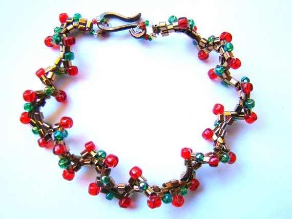 Beadwork Bracelet  Beaded Bracelet in Red Green and Bronze  Bead Woven Jewelry  Boho Chic Bracelet - BJ0030