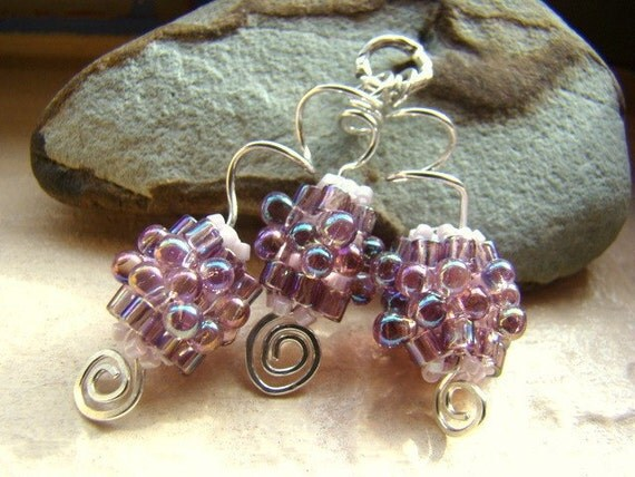 Purple bead work, beaded beads, wire wrap, beaded pendant, sterling pendant, bead clusters