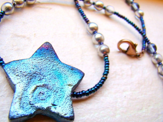 Raku star beaded choker necklace  Blue and Copper  Ceramic chunky star necklace  Short beaded necklace - BJ0040