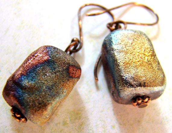Chunky raku earrings in copper, gold, purple and peacock blue on copper earwires