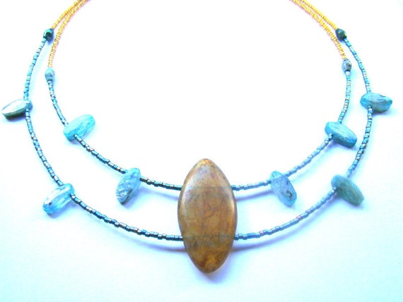 Caramel and Teal Multistrand Beaded Statement Necklace Gift for Her  Contemporary Necklace  Boho Jewelry - BJ0014