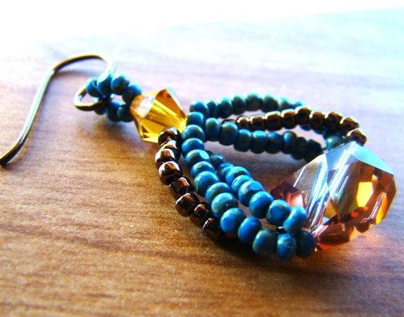 Beaded Earrings  Bead Woven Earrings Seed Bead Earrings  Crystal glass earrings  Blue and Gold Bohemian BohoChic Jewelry - ER0014