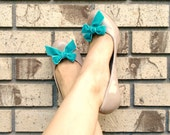 Turquoise Blue Velvet Bow Shoe Clips by Studio H. Boutique