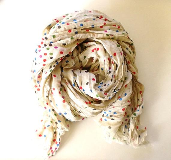 Multicolor Polka Dot Scarf - by Studio H. Boutique