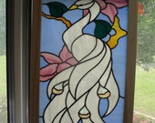 Framed White Peacock Stained Glass Panel
