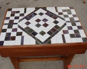 Multi Leveled Mosaic End Table with White Tiles and Green & Burgandy Glass