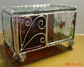 Claw Footed Hinged Stained Glass Box in Plum and Green Streamer Glass with Plum Panels