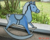 Blue and White Stained Glass Rocking Horse