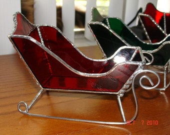 Stained Glass Santa Sleds - Mid Sized