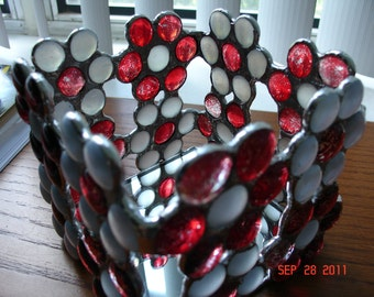 Red & White Flower Candle Holder or Decorative Box in Stained Glass Nuggets