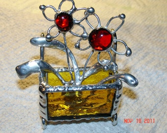 Mini Stained Glass Flower Cart with 2 wire Flowers
