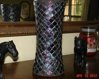Stained Glass Mosaic Vase / Candle Holder in Blue/ Green/ Purple Van Gogh & Purple Mirrored Glass