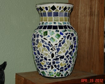 Stained Glass Mosaic Vase Candle Holder - Springtime in Blues, Greens, Purple & Yellow
