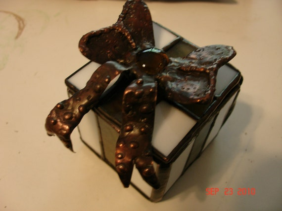 Stained Glass Ribbon Box with copper bow