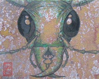 ACEO Green Tiger Beetle - Archival Print - Insect Art
