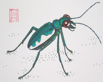 ACEO Blue Tiger Beetle - Archival Print - Insect Art