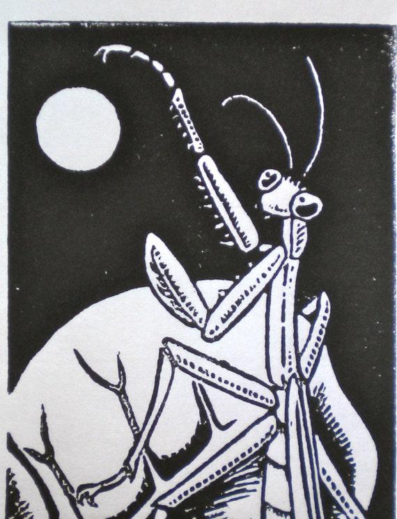Clearance - Mantis and Moon - Insect Lino Block Print - Bug Art