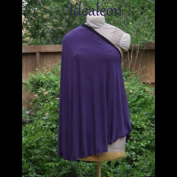 Deep Purple Black Lace Nursing Poncho Shawl Breastfeeding Cover -Made to fit You- S M L Drawstring Bag