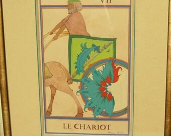 """Original Persian painting-Tarot card """"The Chariot"""" Original framed painting/the Chariot card"""