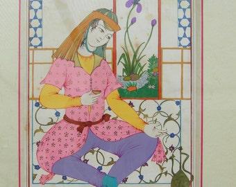 "Tarot card ""La Tempérance"" Original painting with frame"