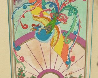 "Persian Painting Tarot card ""La Roue de la Fortune"" Original painting with frame"