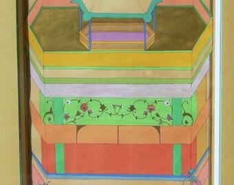 """Persian painting-Tarot card """"La Maison dieu"""" Original painting with frame-Persian painting Tarot-oriental art"""