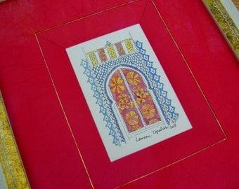 Original watercolor / Moroccan door / oriental watercolor /oriental art/orient lover gift