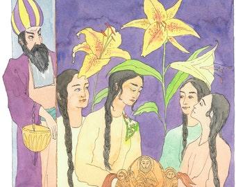 Original watercolor / girl portrait / oriental tale/ Anouche and the dervish/ dervish portrait/ purple watercolor