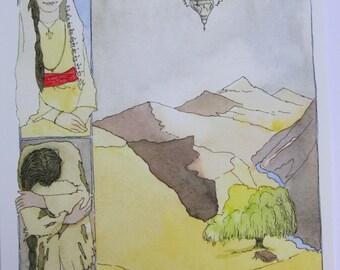 Watercolor - woman portrait-YOUNG GIRL portrait Armenian girl-oriental tale illustration- giclee print