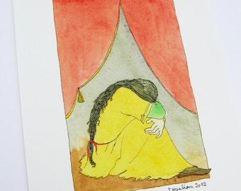 Watercolor- illustration-giclee art print Anouche opera-woman watercolor