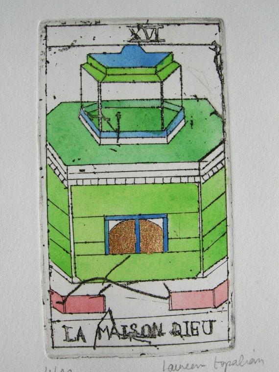 "Original etching Tarot card ""La Maison dieu""-colored etching-persian painting style"