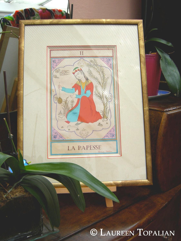 Tarot Card Original Painting La Papesse By LaureenTopalian