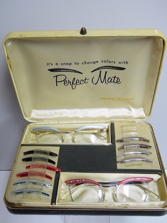 American Optical 1950s Perfect Mate Vintage Cat Eye Eyeglass Set