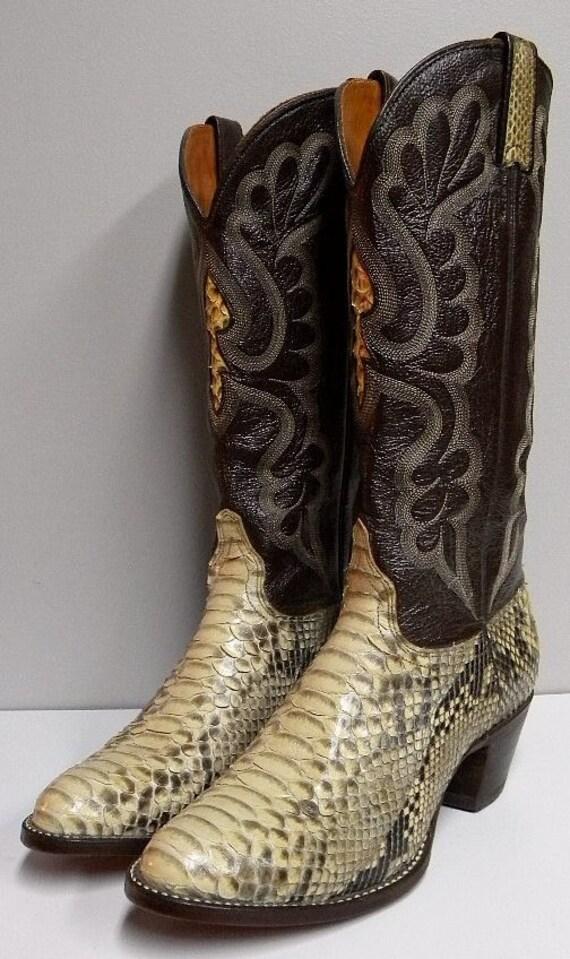 j chisholm snakeskin leather cowboy boots size 7