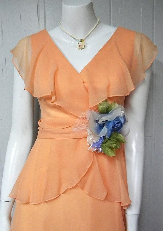 Romantic 1970s Vintage Chiffon Gown