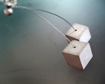 Concrete and Cherries - Cube Earrings