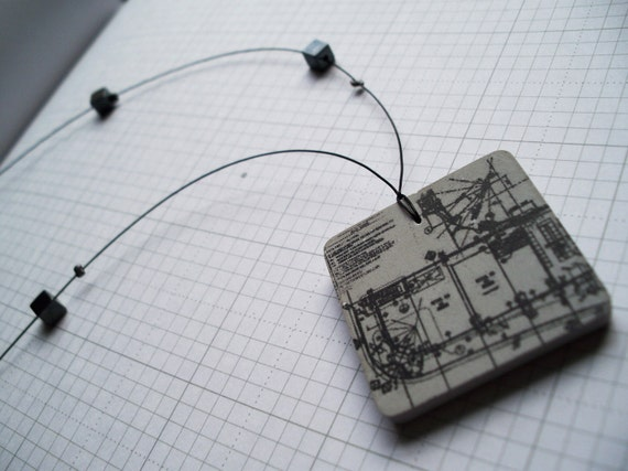 Square Architectural Plan - Necklace