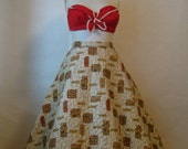 1950s full skirt. vintage quilted atomic tiki novelty circle party skirt.