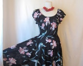 70s dress. black floral sundress. vintage 1970s dress. semi sheer.