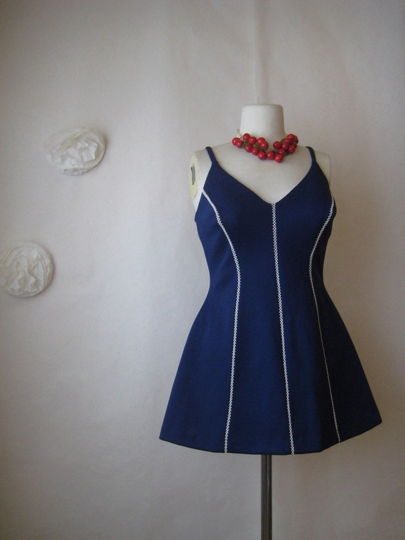 vintage 1960s swimsuit. pin up girl nautical maillot. 60s bathing beauty swim suit.