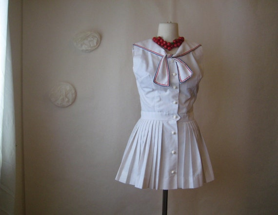 rare vintage 40s 50s sailor girl romper.  jumpsuit playsuit play clothes pin up girl mini dress.