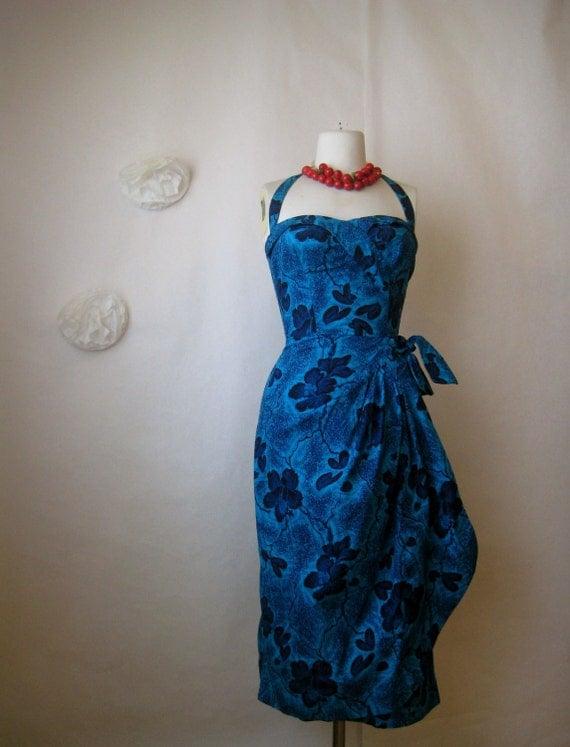 r e s e r v e d. vintage 1950s sarong dress. hawaiian hibiscus floral halter bombshell wiggle dress.