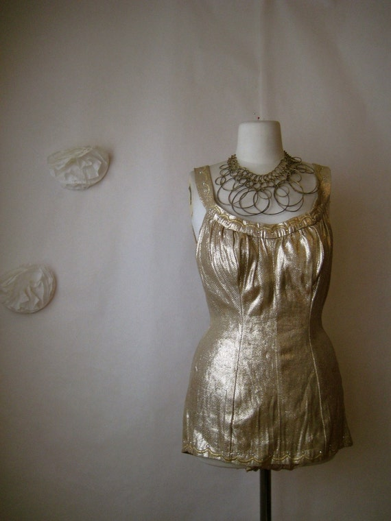 vintage 40s 50s swimsuit. gold lurex lame de weese design playsuit with embroidery & rhinestones.