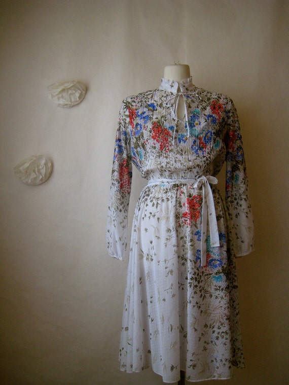 vintage 1970s dress. 70s floral dotted gypsy bohemian sheer dress.