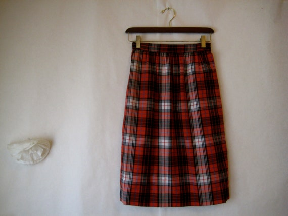 vintage plaid skirt. cotton high waisted skirt. 1960s preppy. twin peaks.