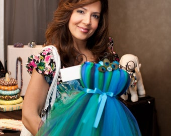 Disney's Wizards of Waverly Place star Maria Canals Barrera with Atutudes Peacock Tutu Dress - Display at the Primetime Emmys Gifting Suite